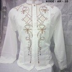 Baju Koko Putih Lengan Panjang Bordir