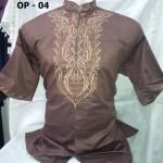 Baju Koko Lengan Pendek Motif Bordir