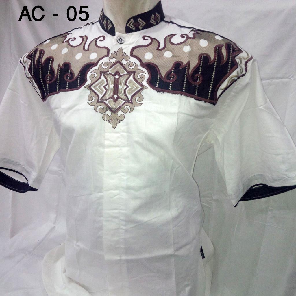 baju koko putih bordir   BusanaMuslimPria.Com