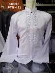 Baju Koko Putih Panjang Bordir