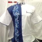 Baju Koko Putih Kombinasi Biru Lengan Pendek