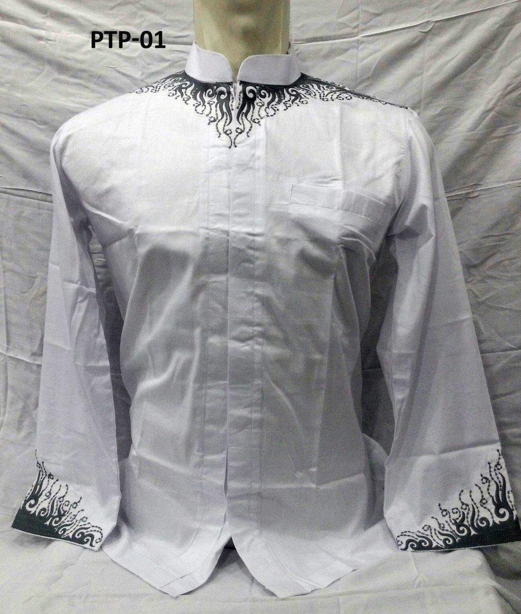 Baju Koko Biladi Warna Putih Lengan Panjang Bordir Model 2017