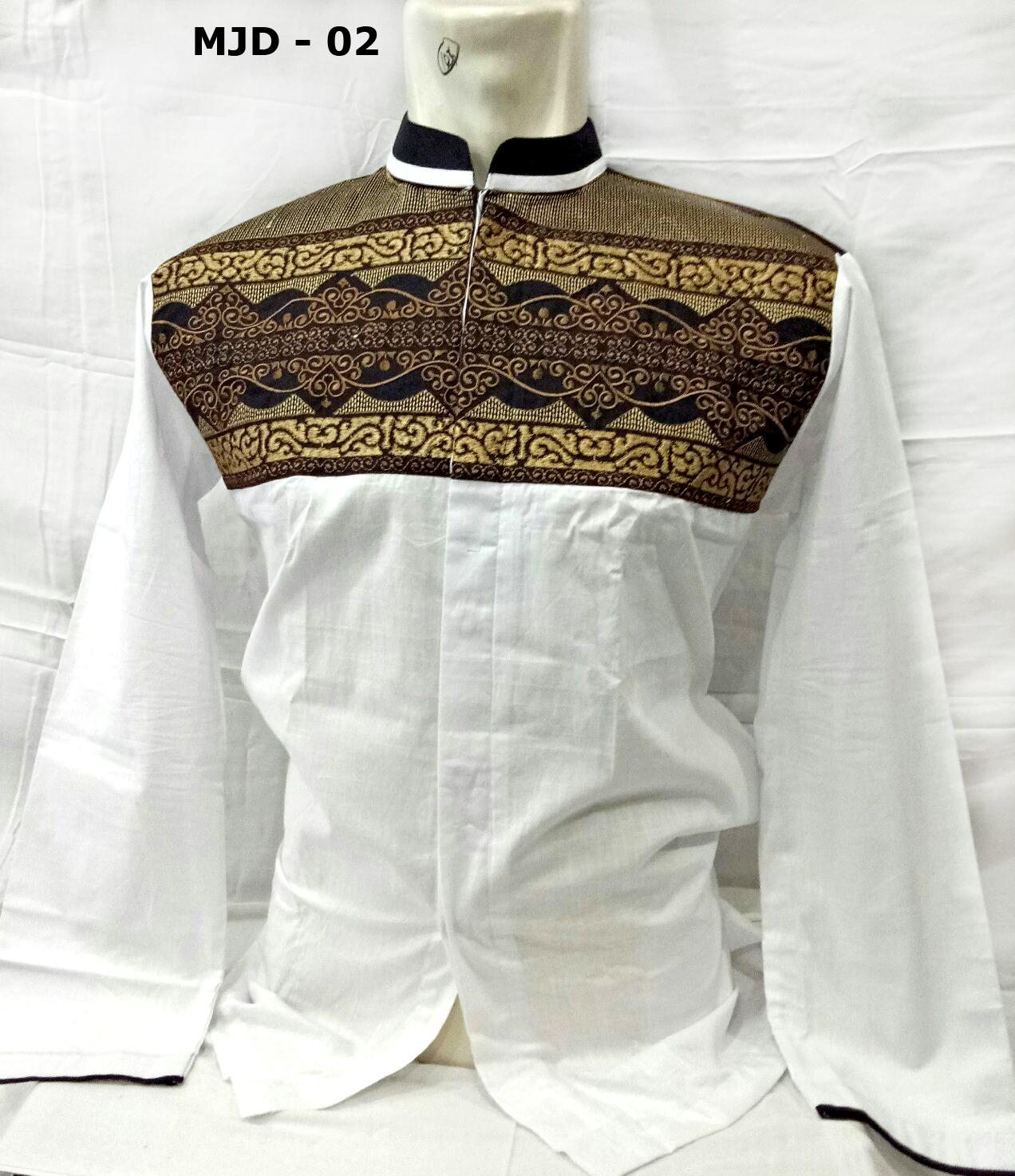 baju koko putih lengan panjang model terbaru bordir batik